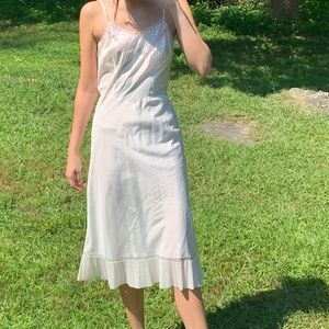 Vintage 1950's White Lace Slip Dress Boho Midi